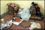 لاجئون سوريون أطفال فروا من العنف في بلادهم مجتمعين مع عائلاتهم في 20 فبراير/ شباط 2012، في غرفة دافئة في مدينة المفرق، بالقرب من الحدود السورية الأردنية. لا يتوفر أرقام حالية حول أعداد اللاجئين السوريين في الأردن، إلا أن رئيس الأمم المتحدة بان كي مون قال في عمان الشهر الماضي إن المملكة استضافت 2500 لاجئ سوري.