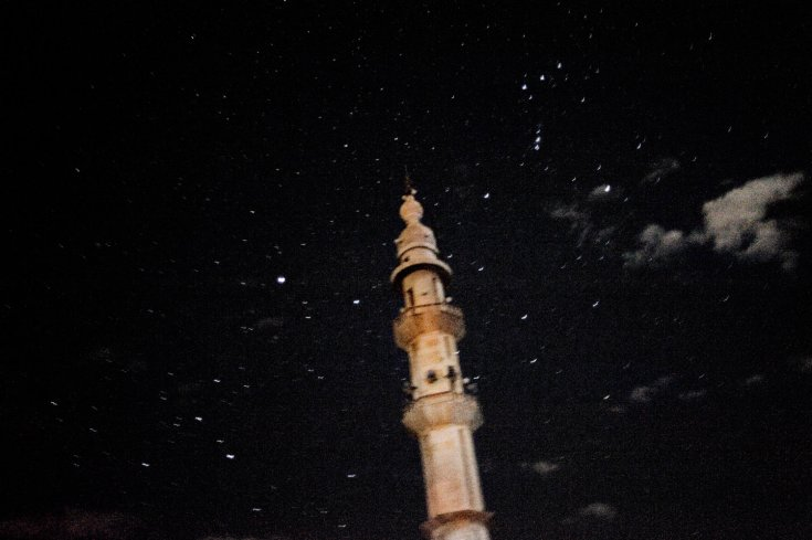 منظر ليلي لمئذنة في بلدة القصير 31 كانون الثاني/يناير 2012