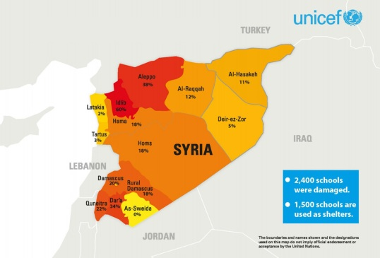 At least 2,400 schools have been damaged during the conflict in Syria. This UNICEF map shows where schools have been damaged or used as shelters. The data is current as of March 5, 2013.