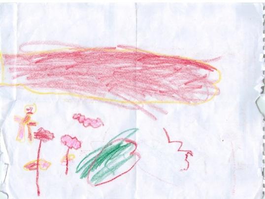 """قامت طفلة من حمص تبلغ الرابعة من العمر بهذا الرسم للمعالجة النفسية في عمان. هذه الطفلة شهدت مقتل عمها الذي دهسته دبابة وظلت تكرر """"عمي، دبابة، والدم،"""" وقد أخبرت والدة الطفلة المعالجة النفسية أن جارتهم تعرضت للاغتصاب من قبل الجنود في نفس اليوم. (ياسر قنواتي)"""